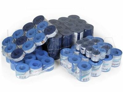 Plastry w rolce pakowane w folię  termokurczliwą o niskiej gęstości polietylenu (LDPE).