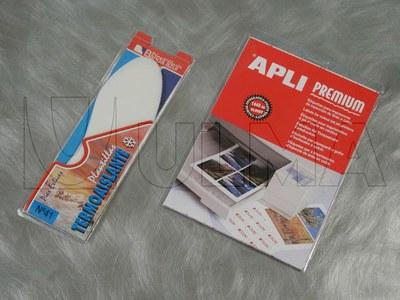 Etykiety przylepne pakowane na maszynie termoformującej w różnych formatach w blistry typu plastik-plastik.