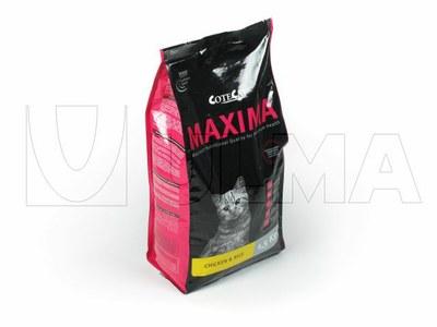 Karma dla zwierząt pakowana w opakowanie o płaskim dnie z 4 kątnym zgrzewem na pionowej maszynie pakującej (VFFS).