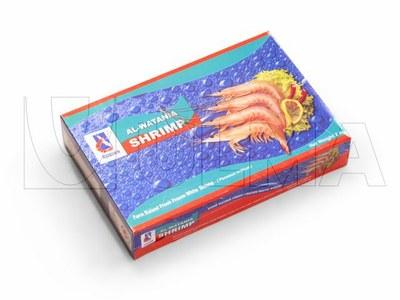 Krewetki w pudełku pakowane w folię polietylenową.